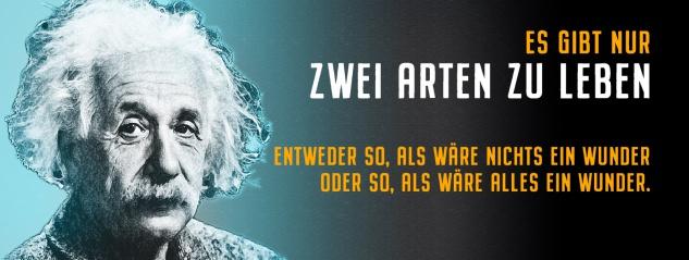 Blechschild Einstein: Es gibt nur 2 Arten zu leben Metallschild Wanddeko 27x10 cm tin sign