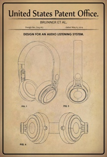Blechschild Patent Entwurf für Kopfhörer- Brunner Metallschild Wanddeko 20x30 cm tin sign