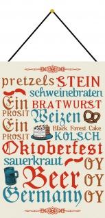 Blechschild Oktoberfest Bavaria Bayern Metallschild Deko 20x30 mit Kordel