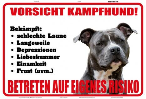 Blechschild Vorsicht Kampfhund! Eigenes Risiko Metallschild Deko 20x30 tin sign