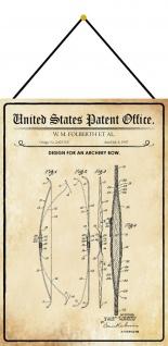 Blechschild Patent Entwurf für einen Pfeilbogen Metallschild 20 x 30 m.Kordel