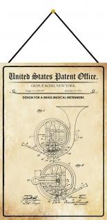 Blechschild Patent Entwurf für Musik - Blasinstrument Deko 20 x 30 m.Kordel