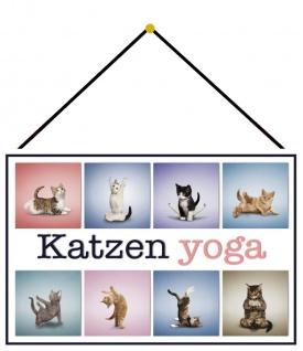 Blechschild Katzen Yoga 1 Metallschild Deko 20x30 cm tin sign mit Kordel