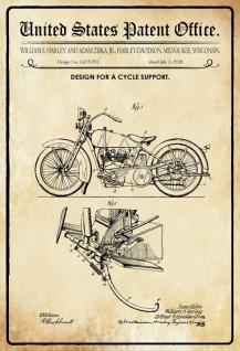 Blechschild Patent Entwurf Fahrrad-Ständer-Ziska-Harley Metallschild Wanddeko 20x30 cm tin sign