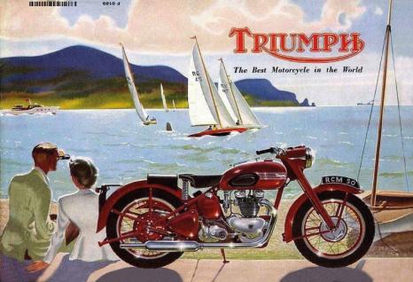 Triumph motorrad paar am see / meer blechschild
