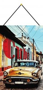 Blechschild Cuba gelbes Oldtimer Auto Metallschild Deko 20x30 mit Kordel