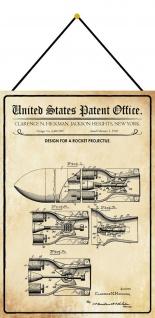 Blechschild Patent Entwurf für ein Raketenprojekt Metallschild 20 x 30 m.Kordel