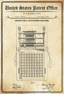 US Patent Office - Design for A Calculating Machine - Entwurf für ein Rechnungsmachine - Burroughs, 1888 - Design No 388.116 - Blechschild