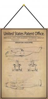 Blechschild Patent Entwurf für ein Hubschrauber Metallschild 20 x 30 m.Kordel