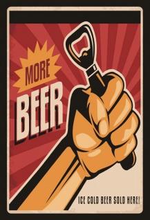 Blechschild More Beer - Ice cold beer sold here Metallschild Wanddeko 20x30 tin sign