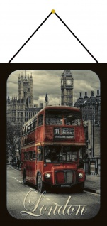 Blechschild London Bus Big Ben Westminster Parliament Deko 20x30 mit Kordel