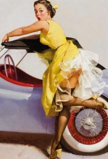 Nostalgie Pin up sexy Frau mit Cabriolet Blechschild 20x30cm