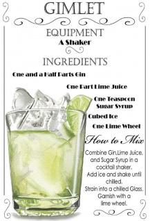 Cocktails Rezept recipe Gimlet gin lime weisse hintergrund blechschild