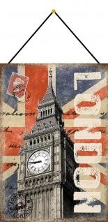 Blechschild Urlaub London Big Ben Metallschild Deko 20x30 mit Kordel
