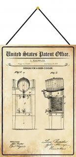 Blechschild Patent Entwurf für einen Bierkühler Metallschild 20 x 30 m.Kordel