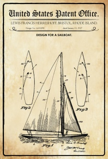 US Patent Office - Design for A Sailboat - Entwurf für ein Segelschiff - Herreshoff, Rhode Island 1927 - Design No 1.613.890 - Blechschild