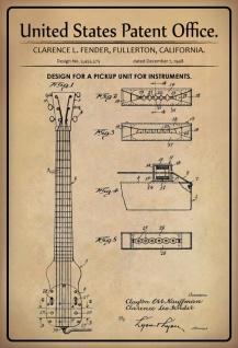 Blechschild Patent Entwurf Aufnahme- Instrumente Fender Metallschild Wanddeko 20x30 cm tin sign