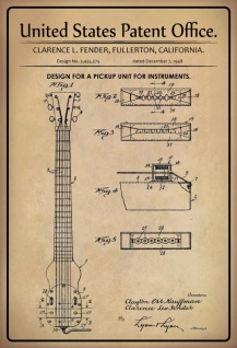 US Patent Office - Design for a Pickup Unit for Instruments - Entwurf für einen Aufnahmeeinheit für Instrumente - Fender - 1948 - Design No 2.455575 - Blechschild