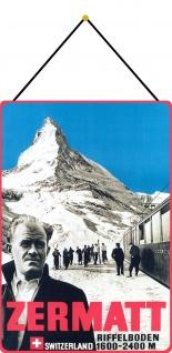 Blechschild Zermatt Riffelboden 1600-2400 m Metallschild 20x30 Deko mit Kordel