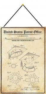 Blechschild Patent Entwurf für einen Doktorhut Metallschild 20 x 30 m.Kordel