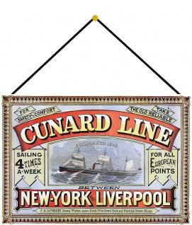 Blechschild Nostalgie Sailship NY Liverpool Metallschild Deko 20x30 cm m.Kordel