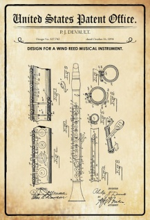 US Patent Office - Design for a Wind Reed Musical Instrument - Entwurf für einen Wind Reed Musikinstrument - Devault - 1894 - Design No 527742 - Blechschild