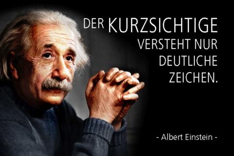 Blechschild Spruch Einstein Der Kurzsichtige versteht Metallschild Wanddeko 20x30 cm tin sign