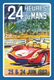 Nostalgie: 24h Le Mans Juni 1962 Blechschild 20x30 cm
