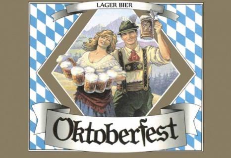 Nostalgie: Lager Bier Oktoberfest (Paar in Tracht) Blechschild 20x30 cm
