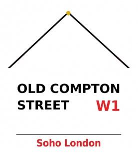 Blechschild London Street Sign Old Compton Street Soho white Deko 20x30 m.Kordel