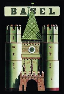 Blechschild Bild Basel mit Spalentor Metallschild Wanddeko 20x30 cm tin sign