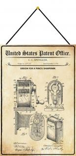 Blechschild Patent Entwurf für einen Bleistiftanspitzer Deko 20 x 30 m.Kordel
