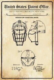 US Patent Office - Design for a Baseball Mask - Entwurf für ein Baseball Maske - Rooney, New York, 1891 - Design No 455.007 - Blechschild