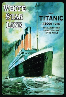 Retro: Titanic White Star Line Metallschild Wanddeko 20x30 tin sign