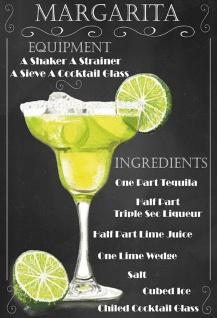 Cocktails Rezept recipe Margarita tequila triple sec lime schwarz hintergrund blechschild