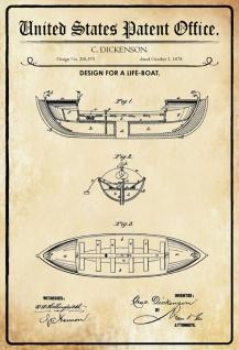 Blechschild Patent Entwurf für Rettungsboot- Schiff Metallschild Wanddeko 20x30 cm tin sign