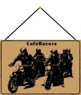 Blechschild Motorrad Cafe Racers beiges Metallschild 20x30 Wanddeko mit Kordel