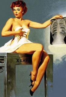 Nostalgie Pin up sexy Frau mit Röntgenbild Blechschild 20x30cm