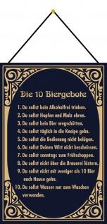 Blechschild Spruch 10 Biergebote Regel Metallschild Wanddeko 20x30 m. Kordel