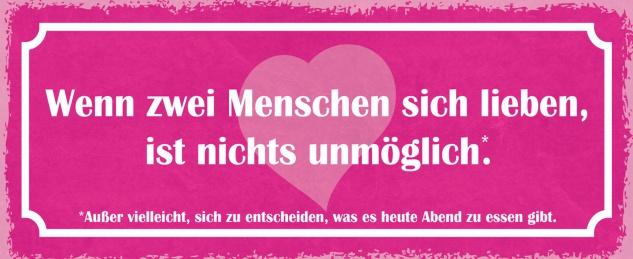 Blechschild Spruch Wenn zwei Menschen sich lieben, ist nichts unmöglich:Außer vielleicht, sich zu entscheiden, was es heute Abend zu essen gibt Metallschild 27x10 Deko tin sign