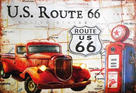 Retro: US Route 66 (Oldtimer) Metallschild Wanddeko 20x30 cm tin sign