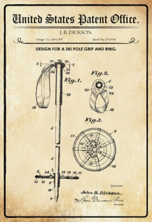 US Patent Office - Design for a Ski Pole Grip and Ring - Entwurf für einen Skistockgriff und -ring - Dicskon - 1934 - Design No 1.961099 - Blechschild