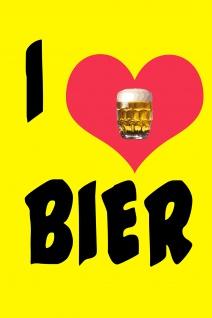 Blechschild Spruch I love Bier Herz Metallschild Wanddeko 20x30 cm tin sign