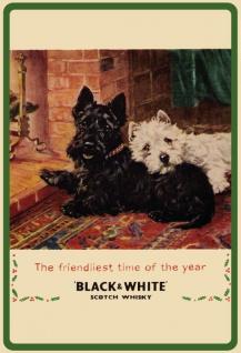 Black & White Scotch whisky westie scottie terrier hund weihnachten blechschild