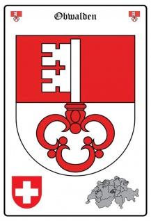 Blechschild Obwalden Wappen Metallschild Wanddeko 20x30 cm tin sign