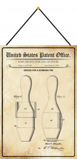 Blechschild Patent Entwurf für einen Bowlingpin Metallschild 20 x 30 m.Kordel