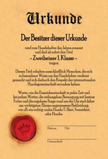 Urkunde - zweibeiner 1. Klasse blechschild - Vorschau