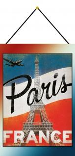 Blechschild Paris France Metallschild Deko 20x30 cm tin sign mit Kordel