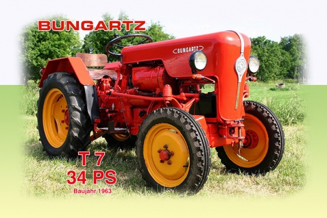 Bungartz T7 34PS 1963 tracktor trekker blechschild