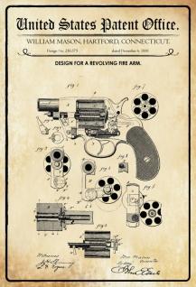 Blechschild Patent Entwurf für Revolverwaffe-Mason Metallschild Wanddeko 20x30 cm tin sign